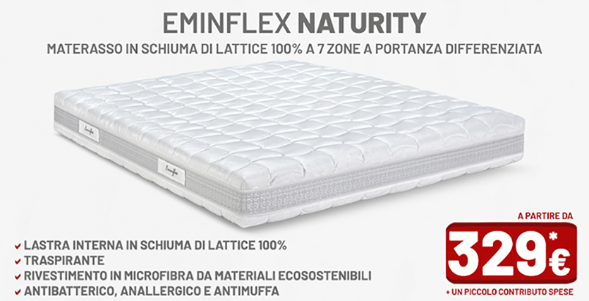 Materasso Una Piazza E Mezza Lattice.Materassi Eminflex Naturity Materassi In Lattice